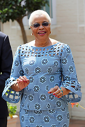 Graca Machel, widow of the late Nelson Mandela, waits to greet the Duke and Duchess of Sussex on the last day of their tour in Africa.