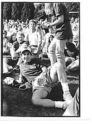Paul Simon (Christopher Reeve behind) East Hampton, New York, approx 1990© Copyright Photograph by Dafydd Jones 66 Stockwell Park Rd. London SW9 0DA Tel 020 7733 0108 www.dafjones.com