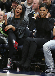 Deja Lighty (L), girlfriend of NBA Player Donovan Mitchell and her friend Taylor Webster (R), interact during an NBA game between Utah Jazz and Miami Heat, in Vivint Smart Home Arena in Salt Lake City, Utah, December 12 2018. Lighty's was celebrating her 23rd birthday at the game. 12 Dec 2018 Pictured: Deja Lighty (L), girlfriend of NBA Player Donovan Mitchell and her friend Taylor Webster (R), look over to the Utah Jazz bench at Donovan, during an NBA game between Utah Jazz and Miami Heat, in Vivint Smart Home Arena in Salt Lake City, Utah, December 12 2018. Lighty's was celebrating her 23rd birthday at the game. Photo credit: George Frey Photography / MEGA TheMegaAgency.com +1 888 505 6342