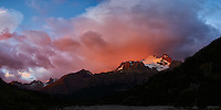 Patagonia Dawn Panorama from Hosteria El Pilar in El Chalten, Argentina. Composite of 5 image taken with a Nikon D3s and 50 mm f/1.4G lens (ISO 400, 50 mm, f/4) using Kolor AutoPano Giga Pro. Unfortunately Fitzroy is hidden in the orange clouds.