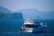 Scuba diver climbing onboard dive boat, just offshore of Santa Catalina Island, San Pedro Channel, California Coast
