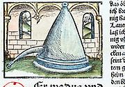 Distillation 1500. The Rosenhut, a form of still.  From ' Liber de arte distillandi de simplicibus' by Hieronmus Braunschweig. (Strasbourg, 1500).
