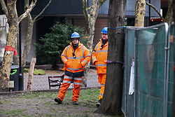 London, UK. 12th January, 2018. Construction workers observe local residents and environmental campaigners protesting against the planned felling of mature London Plane, Red Oak, Common Whitebeam, Common Lime and Wild Service trees in Euston Square Gardens to make way for temporary sites for construction vehicles and a displaced taxi rank as part of preparations for the HS2 high-speed rail line.
