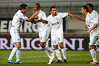 FOOTBALL - FRENCH CHAMPIONSHIP 2011/2012 - L1 - OLYMPIQUE MARSEILLE v AC AJACCIO  - 22/10/2011 - PHOTO PHILIPPE LAURENSON / DPPI - JOY AFTER GOAL ANDRE AYEW (OM)