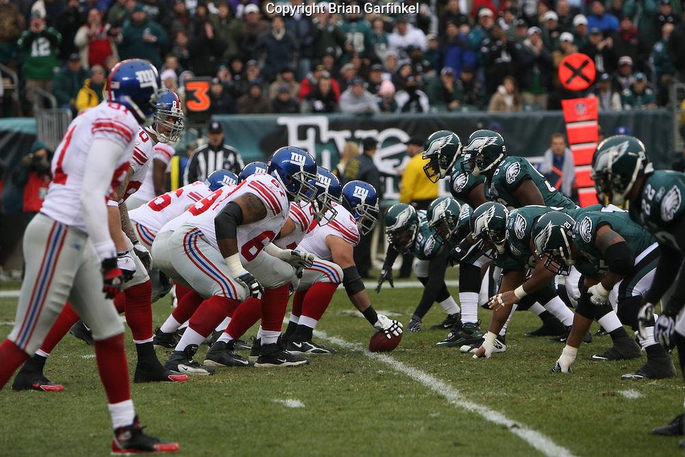 PHILADELPHIA - DECEMBER 9:  Philadelphia Eagles Defensive Line prepares to attack the New York Giants during the game against the New York Giants on December 9, 2007 at Lincoln Financial Field in Philadelphia, Pennsylvania. The Giants won 16-13.