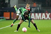 FOOTBALL - FRENCH CHAMPIONSHIP 2011/2012 - L1 - PARIS SAINT GERMAIN v AS SAINT ETIENNE - 2/05/2012 - PHOTO JEAN MARIE HERVIO / REGAMEDIA / DPPI - BAKARY SAKO (ASSE) / SYLVAIN ARMAND (PSG)