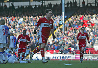 Photo: Andrew Unwin.<br />Blackburn Rovers v Middlesbrough. The Barclays Premiership. 18/03/2006.<br />Middlesbrough's Fabio Rochemback (C) celebrates scoring his team's equaliser.