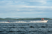 """Superman"" Scott Johnson water skiis behind the Super Hero Mastercraft driven by Dave Perkins ""Captain America"" and Rick Kelly ""The Incredible"" as spotter during the Winni Skiathon held Saturday morning from Winnipesaukee Yacht Club.  (Karen Bobotas/for the Laconia Daily Sun)"
