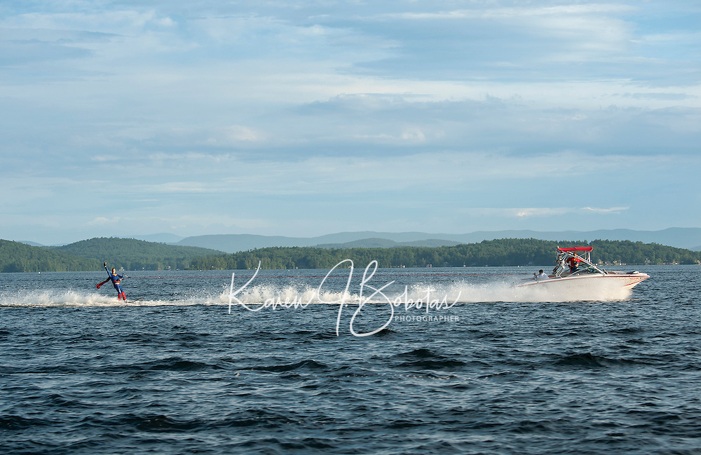 """""""Superman"""" Scott Johnson water skiis behind the Super Hero Mastercraft driven by Dave Perkins """"Captain America"""" and Rick Kelly """"The Incredible"""" as spotter during the Winni Skiathon held Saturday morning from Winnipesaukee Yacht Club.  (Karen Bobotas/for the Laconia Daily Sun)"""