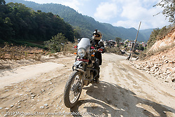 Spoke and Dagger's Chris Drew riding a Royal Enfield Himalayan in Motorcycle Sherpa's Ride to the Heavens motorcycle adventure in the Himalayas of Nepal. Riding from Daman back to Kathmandu. Wednesday, November 13, 2019. Photography ©2019 Michael Lichter.