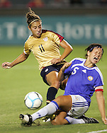 25 August 2007: Finland's Tiina Salmen (5) sacrifices herself to block a shot from US midfielder Carli Lloyd (11). The United States Women's National Team defeated the Women's National Team of Finland 4-0 at the Home Depot Center in Carson, California in an International Friendly soccer match.
