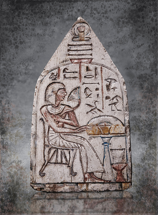 """Ancient Egyptian Ra stele , limestone, New Kingdom, 19th Dynasty, (1279-1190 BC), Deir el-Medina,  Egyptian Museum, Turin. <br /> <br /> Akh iqer en Ra """" the excellent spirit of Ra' stele. The individual is smelling a lotus flower. One of three stele forund in different rooms of houses in Deir el-Medina where they stood in niches."""