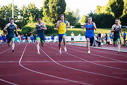 Luka Janezic (yellow) and Nick Kocevar (blue) competing  in Men's 100m sprint during day one of the 2020 Slovenian Cup in ZAK Stadium on July 4, 2020 in Ljubljana, Slovenia. Photo by Grega Valancic / Sportida