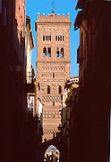 SPAIN, ARAGON, TERUEL San Martin with 'Mudejar' belltower