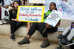 London, UK. 30 May, 2019. SEND children and campaigners from SEND National Crisis attend a demonstration in Parliament Square to demand improvements in the diagnosis and assessment of young people with SEND, assistance for their families, funding and legal and financial accountability for local authorities in their treatment of young people with SEND and their families.