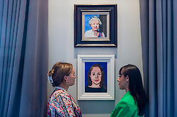 """© Licensed to London News Pictures. 27/09/2021. LONDON, UK.  """"Queen Elizabeth II (Radio Times Diamond Jubilee Royal Souvenir Cover)"""", 2012 and """"Meghan Markle, The Duchess of Sussex"""", 2018, both by Peter Blake.  Preview of """"Pop Goes The Arts Club: The World of Peter Blake"""", a new exhibition curated by Wedel Art, at the The Arts Club in Mayfair.  Works by """"the godfather of British Pop art"""" are on display 27 September 2021 to 15 January 2022. Photo credit: Stephen Chung/LNP"""