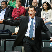 Efes Pilsen's coach Ufuk SARICA during their Turkish Basketball league derby match Besiktas between Efes Pilsen at the BJK Akatlar Arena in Istanbul Turkey on Saturday 30 April 2011. Photo by TURKPIX