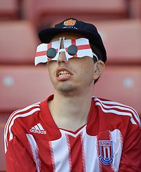 A Stoke City fan in the stands