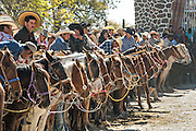 Hundreds of Mexican cowboys line up for the final mass marking Three Kings Day and the end of the annual Cabalgata de Cristo Rey pilgrimage January 6, 2017 in Guanajuato, Mexico. Thousands of Mexican cowboys and horse take part in the three-day ride to the mountaintop shrine of Cristo Rey.