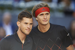 May 13, 2018 - Madrid, Madrid, Spain - Alexander Zverev (R) of Germany and Dominic Thiem of Austria  pose for a picture prior to their final match during day nine of the Mutua Madrid Open tennis tournament at the Caja Magica on May 13, 2018 in Madrid, Spain  (Credit Image: © David Aliaga/NurPhoto via ZUMA Press)