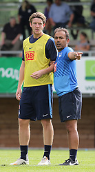 04.08.2014, Athletic Area, Schladming, AUT, Hertha BSC, im Bild Peter Niemeyer (Hertha BSC, #18) und Jos Luhukay (Hertha BSC, Trainer) // during a training session of the German Bundesliga Club Hertha BSC at the Athletic Area, Austria on 2014/08/04. EXPA Pictures © 2014, PhotoCredit: EXPA/ Martin Huber