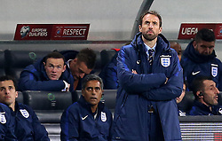 Interim England Manager Gareth Southgate and Wayne Rooney of England watch the action of their teams fixture with Slovenia - Mandatory by-line: Robbie Stephenson/JMP - 11/10/2016 - FOOTBALL - RSC Stozice - Ljubljana, England - Slovenia v England - World Cup European Qualifier