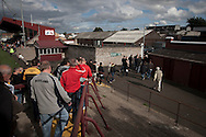 Supporters of Alloa Athletc football club leaving Ochilview stadium, Larbert, after their Irn Bru Scottish League second division match against Stenhousemuir. Alloa won the match by one goal to nil against their local rivals in a match watched by 619 spectators.