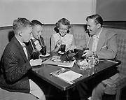 Y-560629-01.  Bill Haley (of Comets band) and Fan club. Heathman Hotel. June 29, 1956