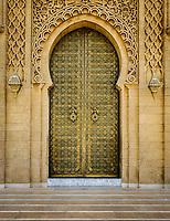 RABAT, MOROCCO - CIRCA APRIL 2017: Exterior door at the Mausoleum of Mohammed V in Rabat.