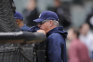 CHICAGO - October 6:  Manager Joe Maddon of the Tampa Bay Rays watches batting practice prior to the game against the Chicago White Sox at U.S. Cellular Field in Chicago, Illinois on October 6, 2008.  The Rays defeated the White Sox 6-2 to advance to the ALCS.  (Photo by Ron Vesely)