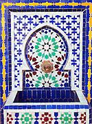 Artisanal Zellij, terracotta tile work, from a workshop in Fes, Morocco