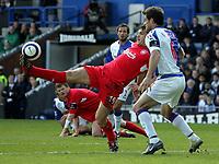 Photo: Paul Thomas.<br /> Blackburn Rovers v Liverpool. The Barclays Premiership. 16/04/2006.<br /> <br /> Liverpool's Fernando Morientes keeps the ball from Blackburn's Ryan Nelsen.