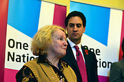 © Licensed to London News Pictures. 05/11/2012. London, UK Ed Miliband watches Birmingham City Council Cleaner, Elaine Hook,  talk about her life since receiving a living wage.  Labour leader Ed Miliband Delivers a speech on the Living Wage at Islington Town Hall today 5th November 2012 This week is Living Wage Week. Photo credit : Stephen Simpson/LNP