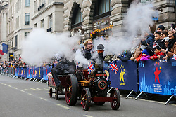 © Licensed to London News Pictures. 01/01/2020. London, UK. Miniature steam engines at the New Year's Day Parade in central London. Over 10,000 performers representing the London boroughs and countries from across the globe are parading from Piccadilly Circus to Parliament Square as tens of thousands of Londoners and tourists line the route. Every year, dancers, acrobats, cheerleaders, marching bands, historic vehicles and more assemble in the heart of the capital for a colourful celebration of contemporary performances and traditional pomp and ceremony. Photo credit: Dinendra Haria/LNP