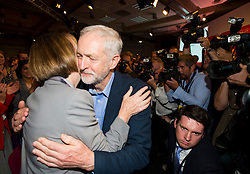 © Licensed to London News Pictures. 12/09/2015. London, UK. JEREMY CORBYN hugs HARRIET HARMEN after the announcement that JEREMY CORBYN is the new Labour Party leader. The announcement of the new leader of the Labour Party at the QEII centre in Westminster, London on September 12, 2015. Former leader ED Miliband resigned after a heavy defeat at the last election. Photo credit: Ben Cawthra/LNP