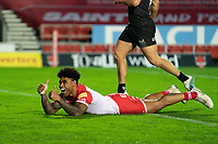 Rugby League - 2020 Betfair Super League - Semi-final - St Helens vs Catalan Dragons - TW Stadium<br /> <br /> St. Helens's Kevin Naiqama celebrates scoring a try<br /> <br /> COLORSPORT/TERRY DONNELLY