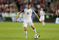 September 1, 2017 - Harrison, NJ, USA - Harrison, N.J. - Friday September 01, 2017:   Christian Pulisic during a 2017 FIFA World Cup Qualifying (WCQ) round match between the men's national teams of the United States (USA) and Costa Rica (CRC) at Red Bull Arena. (Credit Image: © John Dorton/ISIPhotos via ZUMA Wire)