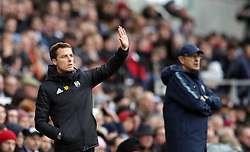 Fulham interim manager Scott Parker gestures on the touchline during the Premier League match at Craven Cottage, London.