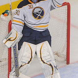 Buffalo Sabres goalie Ryan Miller (30) celebrates his victory during third period NHL action between the Buffalo Sabres and the New York Rangers at Madison Square Garden in New York, N.Y. The Sabres defeated the Rangers 4-1.