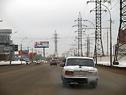 Nowosibirsk/Russische Foederation, RUS, 19.11.07: Stadtautobahn vom Flughafen in das Zentrum der sibirischen Hauptstadt Nowosibirsk.<br /> <br />  Novosibirsk/Russian Federation, RUS, 19.11.07: City highway leading from the airport to the center of the siberian capital city Novosibirsk.