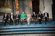 From left, Nobel Peace prize winners Jose Manuel Barroso,  Herman Van Rompuy and Martin Schulz along with members of the Norwegian Nobel Committee Kaci Kullmann Five, Inger Marie Ytterhorn, Berit Reiss Andersen, Gunnar Staalsett and Geir Lundestad during the Nobel Peace Prize ceremony.