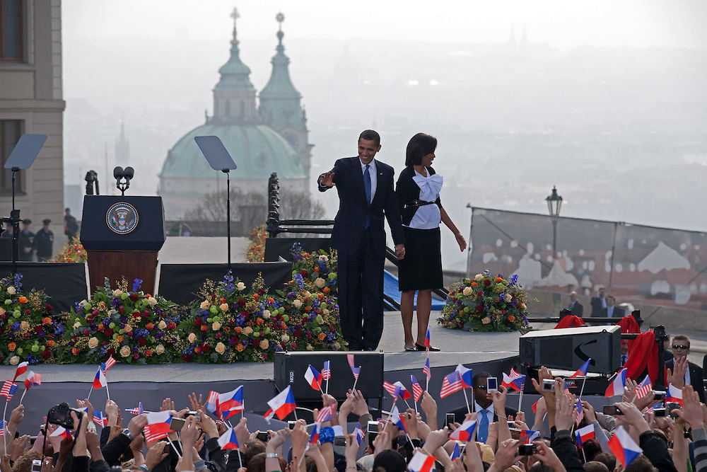 The President of the United States Barack Obama with his wife Michelle Obama before his speech which took place on Sunday the 5th of April at Hradcanske square in front of Prague castle in Czech Republic.