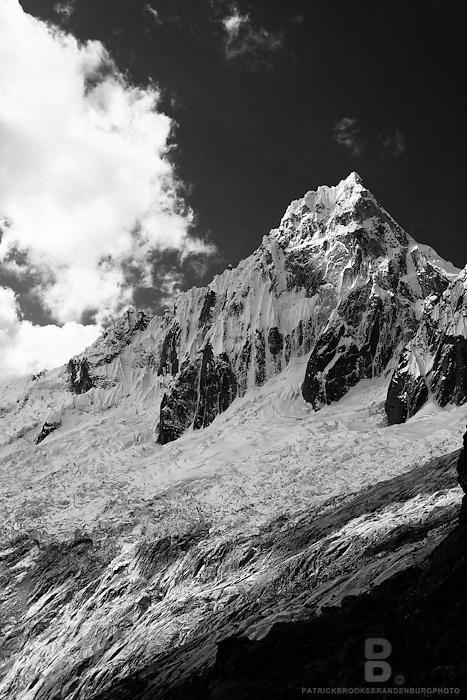 A black and white image of Nevado Tralliraju that sits at 5830 meters in the Cordillera Blanca of the Andes mountains in Peru. 8.15.11