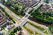 Nederland, Noord-Holland, Amsterdam-Noord, 29-06-2018; Buikslotermeer, verkeersplein/viaduct het Meeuwenei en Station Noorderpark van de Noord/Zuidlijn. Mosveld in de achtergrond.<br /> North Park Station w environment, new subway /underground. <br /> luchtfoto (toeslag op standard tarieven);<br /> aerial photo (additional fee required);<br /> copyright foto/photo Siebe Swart