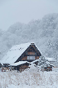 Scenic winter landscape with house covered in snow, Shirakawa-go, Japan