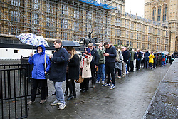 © Licensed to London News Pictures. 21/10/2019. London, UK. Members of the public queue to enter the public gallery at The Houses of Parliament in Westminster. Photo credit: Dinendra Haria/LNP