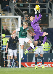 Hibernian's Jason Cummings and Falkirk's keeper Danny Rogers. Falkirk 0 v 1 Hibernian, Scottish Championship game played 20/10/2015 at The Falkirk Stadium.