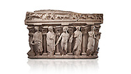 """Roman relief sculpted sarcophagus with kline couch lid, """"Columned Sarcophagi of Asia Minor"""" style typical of Sidamara, 3rd Century AD, Konya Archaeological Museum, Turkey. Against a white background. .<br /> <br /> If you prefer to buy from our ALAMY STOCK LIBRARY page at https://www.alamy.com/portfolio/paul-williams-funkystock/greco-roman-sculptures.html . Type -    Konya     - into LOWER SEARCH WITHIN GALLERY box - Refine search by adding a subject, place, background colour, museum etc.<br /> <br /> Visit our ROMAN WORLD PHOTO COLLECTIONS for more photos to download or buy as wall art prints https://funkystock.photoshelter.com/gallery-collection/The-Romans-Art-Artefacts-Antiquities-Historic-Sites-Pictures-Images/C0000r2uLJJo9_s0"""