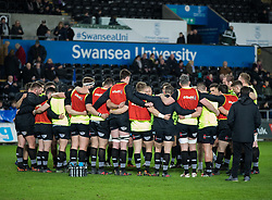 Ospreys team huddle during the pre match warm up<br /> <br /> Photographer Simon King/Replay Images<br /> <br /> Guinness PRO14 Round 19 - Ospreys v Leinster - Saturday 24th March 2018 - Liberty Stadium - Swansea<br /> <br /> World Copyright © Replay Images . All rights reserved. info@replayimages.co.uk - http://replayimages.co.uk