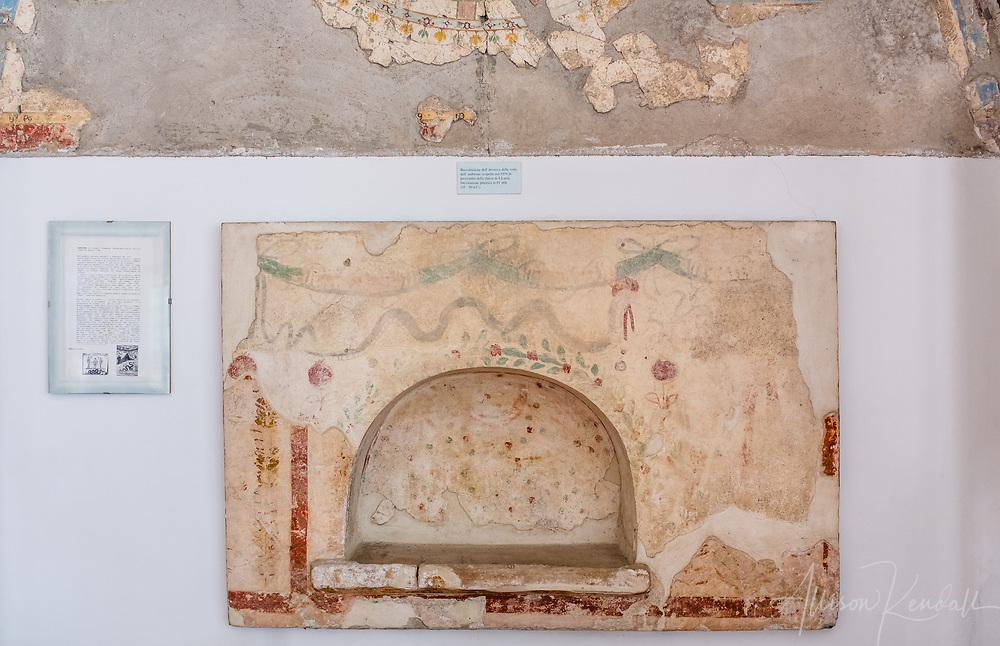 Scenes and details from Villa Romana, in Minori, Italy. A roman archaeological ruin from the 1st century on the Amalfi Coast, featuring well-preserved mosaics and plasterwork.